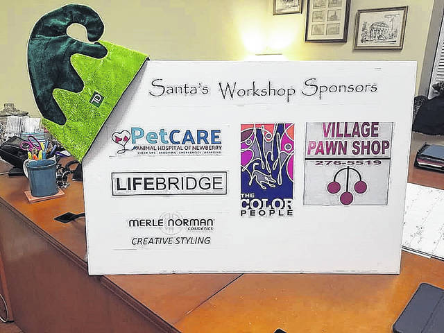We thank our sponsors for making Santa's Workshop and Storytime with Mrs. Claus possible: Creative Styling Merle Norman, LIFEBRIDGE, PetCare of Newberry, The Color People and Village Pawn Shop. TD Bank provided the popular elf hats for all attendees again.